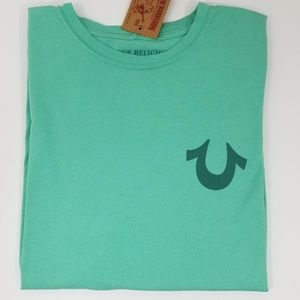 True Religion Mens T-Shirt Green Graphic Tee New